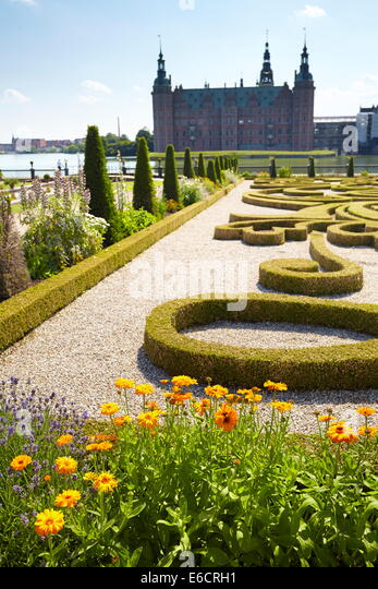 Der Barockgarten am Schloss Frederiksborg, Dänemark Stockbild