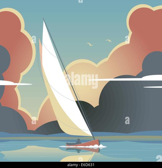 Bearbeitbares Vektor-Illustration eines Mannes eine Segelyacht auf ruhigem Wasser Stockbild