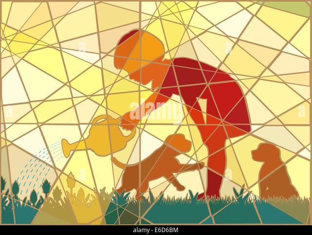 Editierbare Vektorgrafik buntes Mosaik eines jungen Mädchens, die Bewässerung ihres Gartens mit zwei Welpen Stockbild