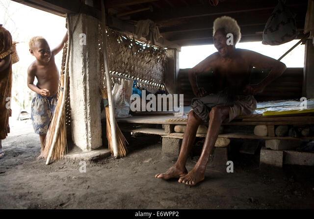 Alltag auf Matupit, Tavurvur Vulkan, Rabaul, East New Britain, Papua-Neuguinea, Pazifik Stockbild