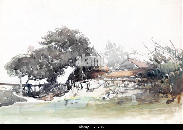Betriebe im Waalsdorp Village - Aquarell - von Johannes Bosboom, 1827-1891 Stockbild