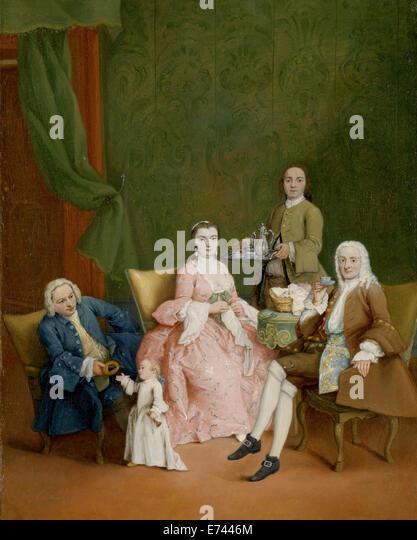 Portrait einer venezianischen Familie mit einem Diener mit Kaffee - von Pietro Longhi, 1752 Stockbild
