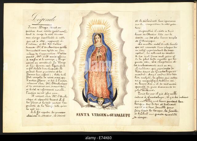 Aquarell von der Jungfrau von Guadalupe, flankiert durch einen Text auf Französisch ihre Legende erzählt. Stockbild