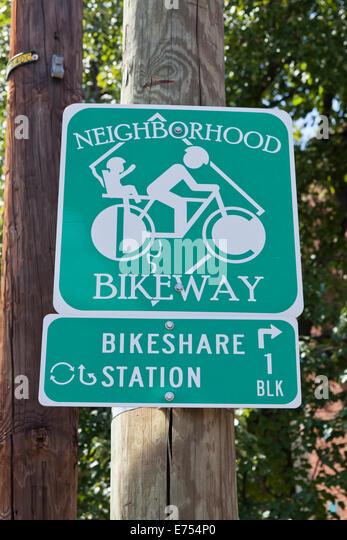 Nachbarschaft Radweg Zeichen - Washington, DC USA Stockbild