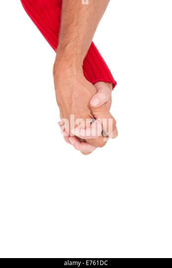 Nahaufnahme von Hand in Hand Stockbild
