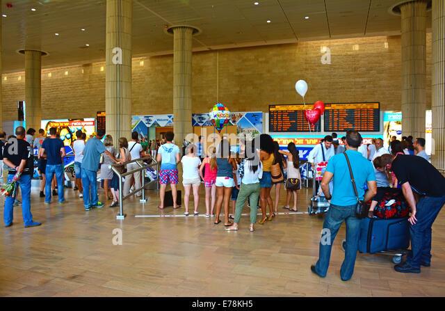 Ankunftshalle Rezeption, Flughafen Ben Gurion, Israel Stockbild