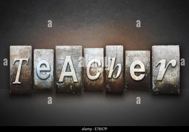 Das Wort Lehrer in Vintage Buchdruck Art geschrieben Stockbild