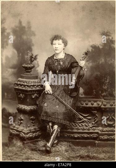 Frau, Viola, Instrument, Musik, historische, Stockbild