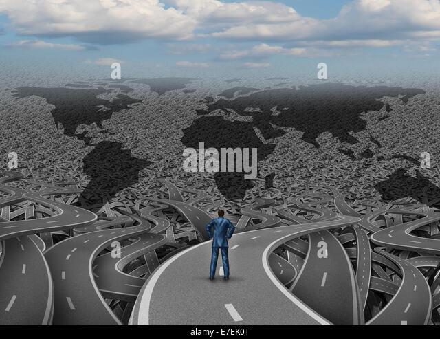 Globale Ausrichtung und Welt Geschäftsmann Offroad-Konzept als eine Gruppe von verschlungenen Landstraßen Stockbild