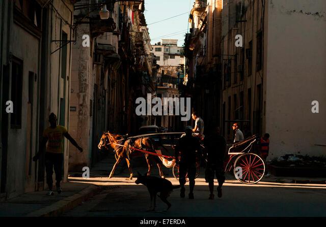 Eine Pferdekutsche in Havanna, Kuba trägt seinen Passagier in einer Seitenstraße in einen Lichtstrahl, Stockbild