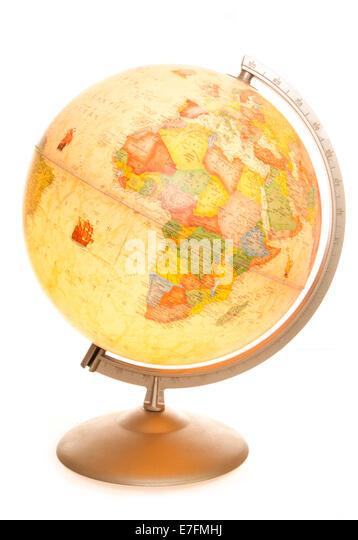 Vintage Welt Karte Globus glühende Studio Ausschnitt Stockbild