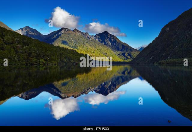 Lake Gunn, Fiordland, Neuseeland Stockbild