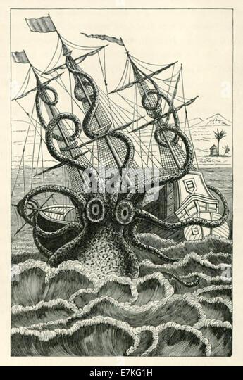 Giant Octopus oder Kraken Angriff Schiff, Abbildung Pierre Denys de Montfort (1766 ? 1820), siehe Beschreibung für Stockbild