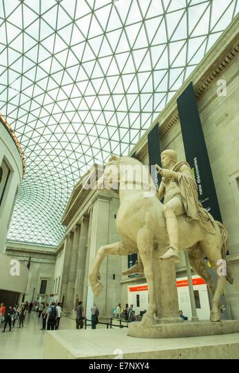 Britisch, British Museum, London, England, UK, Architektur, Kunst, groß, Decke, Säulen, bedeckt, Kultur, Stockbild