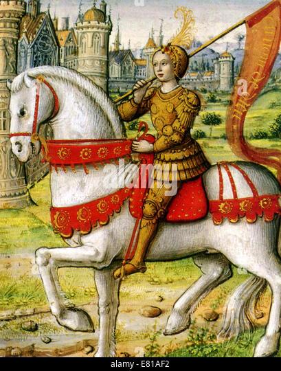 Joan of Arc dargestellt auf dem Pferderücken in eine Illustration aus einem Manuskript von 1505 Stockbild