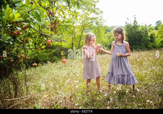 5 und 7 Jahre alten Mädchen. Stockbild