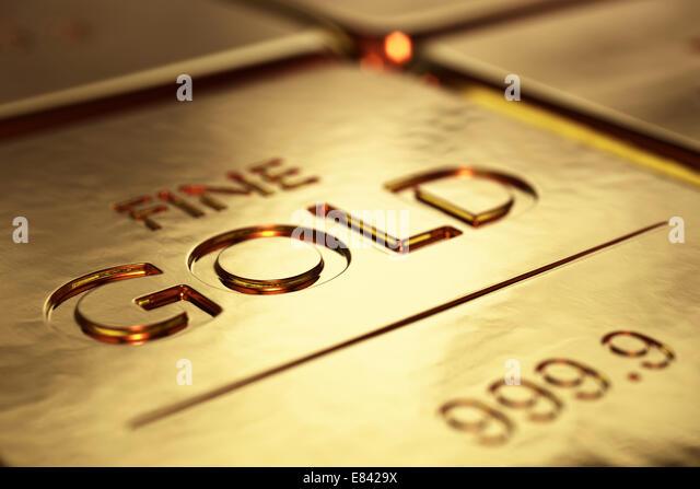 Goldbarren-Nahaufnahme mit flachen DOF (3D Grafik) Stockbild