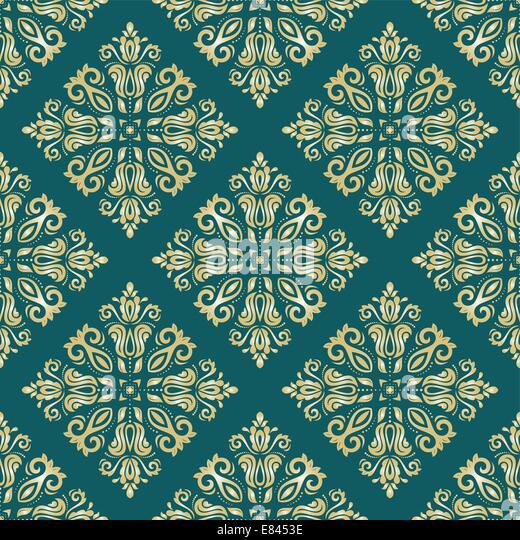 Orientalische Vektormuster mit Damast, Arabesken und floralen Elementen. Nahtlose abstrakten Hintergrund Stockbild
