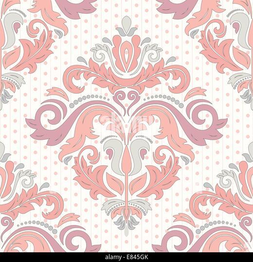 Florale Vektor orientalische Muster mit Damast, Arabesken und floralen Elementen. Nahtlose abstrakte Wallpaper und Stockbild