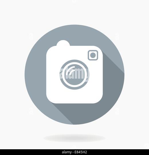 Kamerasymbol Vektor durch flache Bauform im blauen Kreis mit langen Schatten Stockbild