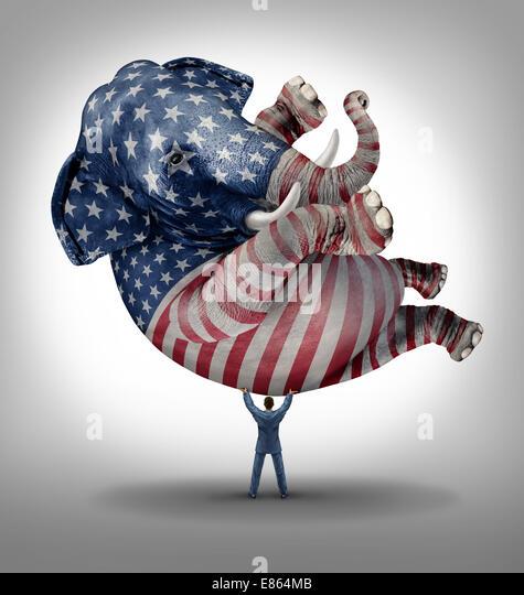 Amerikanischen Republikaner Abstimmung Wahl Führung Symbol wie ein Elefant mit einer gemalten Flagge der Vereinigten Stockbild