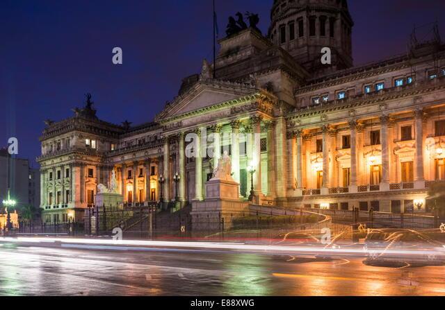 Palacio del Congreso bei Nacht, Buenos Aires, Argentinien, Südamerika Stockbild