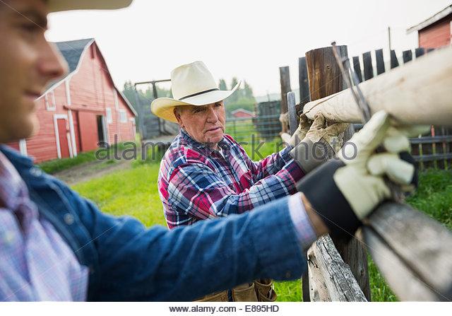 Rancher Zaunpfosten in Weide zu ersetzen - Stock-Bilder