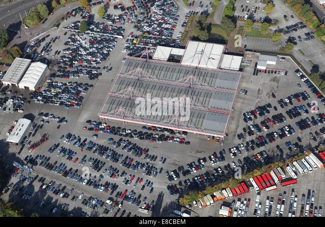 Luftaufnahme des British Car Auctions im Belle Vue in Manchester, UK Stockbild