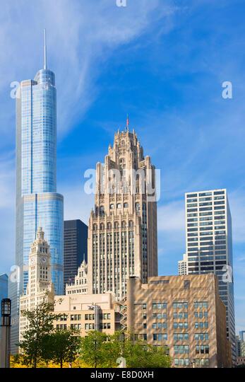 Chicago Trump Tower, Tribune Tower, Wrigley Building Stockbild