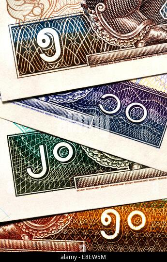 Detail von Myanmar / Burma-Banknoten zeigen Birma / Brahmic Ziffern - 5 (oben) 10, 20 50 (unten) Stockbild