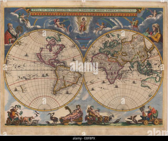 Doppelte Hemisphäre Weltkarte. Künstler: Blaeu, Joan (1596-1673) Stockbild
