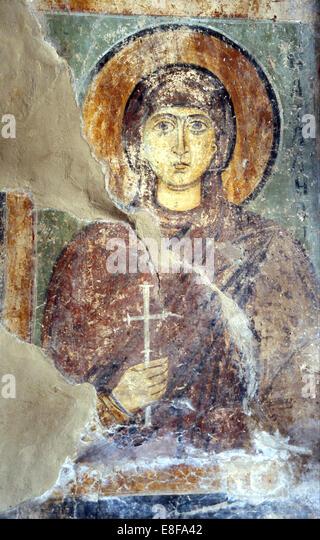 Saint Natalia. Künstler: Alte russische Fresken Stockbild