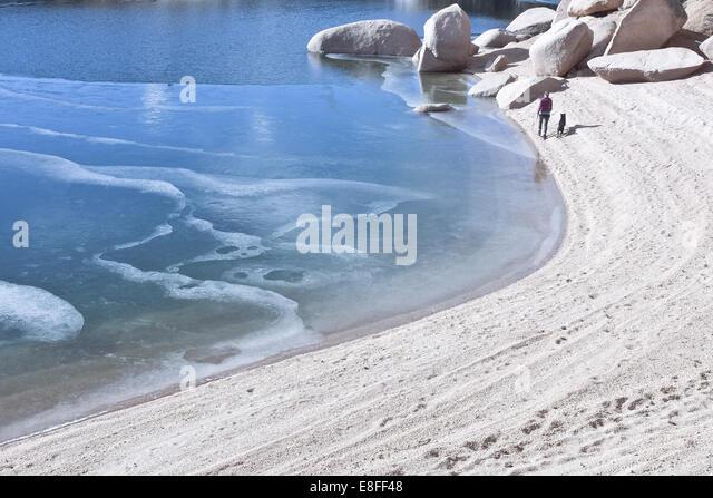 Frau mit Hund zu Fuß entlang dem Strand und zugefrorenen See, Colorado, America, USA Stockbild