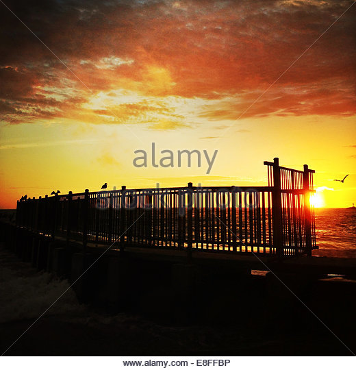 USA, California, Los Angeles, Playa Del Rey, Sonnenuntergang Stockbild