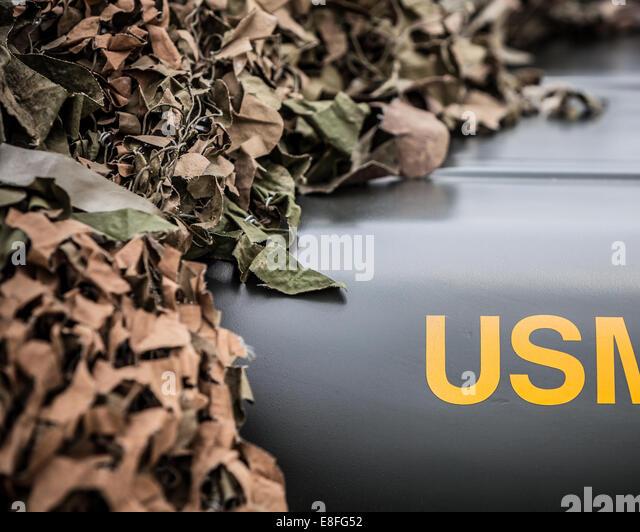Tarnnetz auf einem Militärjeep, America, USA Stockbild