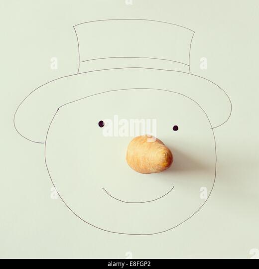 Illustration der Schneemann mit Karotten-Nase - Stock-Bilder