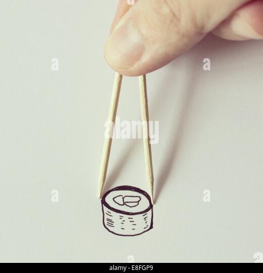Illustration von Sushi und Stäbchen Stockbild
