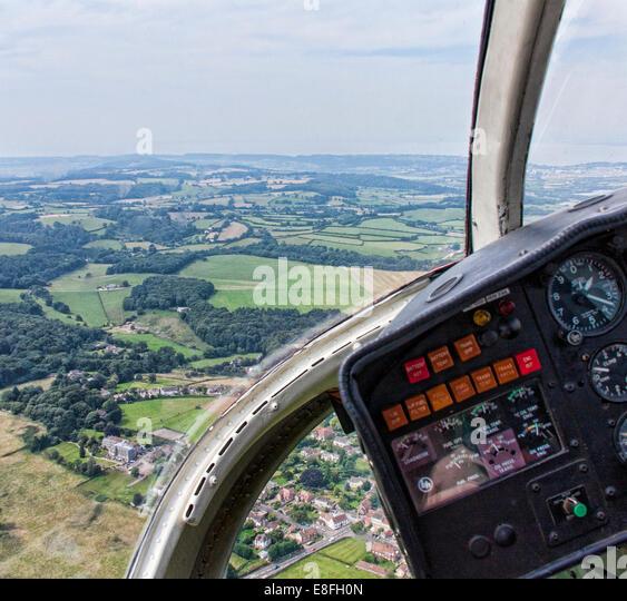 Landschaft im ländlichen Raum von innen ein Hubschrauber, England, UK Stockbild