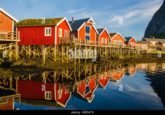Reihe von traditionellen Holzhäusern, Norwegen Stockbild
