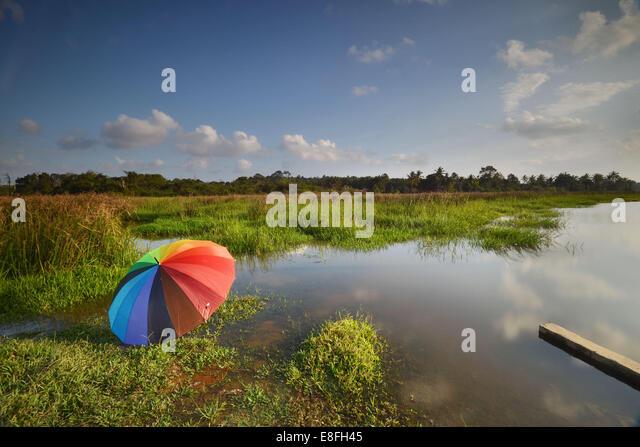 Malaysia, Kuantan, Sonnenschirm am sonnigen Tag in der Nähe von Fluss Stockbild