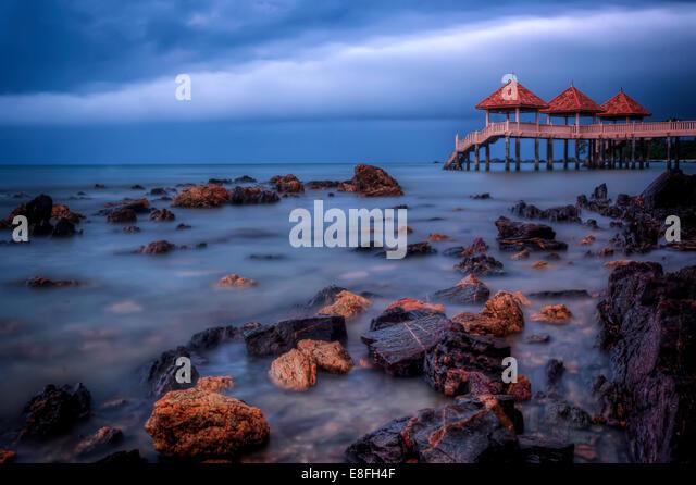 Malaysia, Johor, Tanjung Balau Resort am Morgen Stockbild
