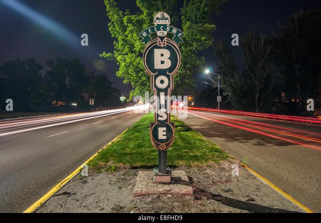 USA, Idaho, Willkommen Schilder in Boise Stockbild