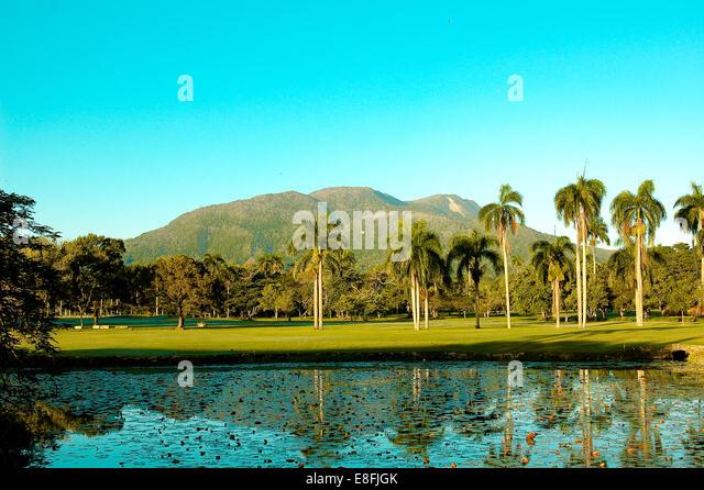 Dominikanische Republik, Puerto Plata, Ansicht von Mont Isabela de Torres Stockbild