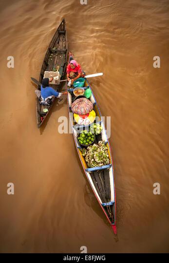 Indonesien, Süd-Kalimantan, Banjarmasin, traditionellen schwimmenden Markt Stockbild