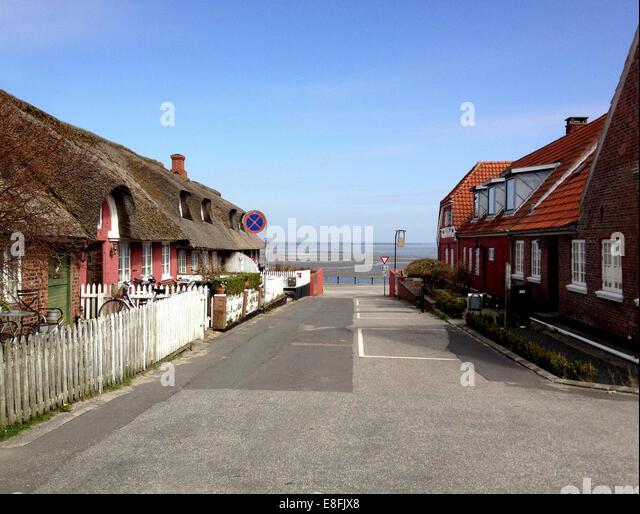 Traditionellen strohgedeckten Cottages, Fanø, Dänemark Stockbild