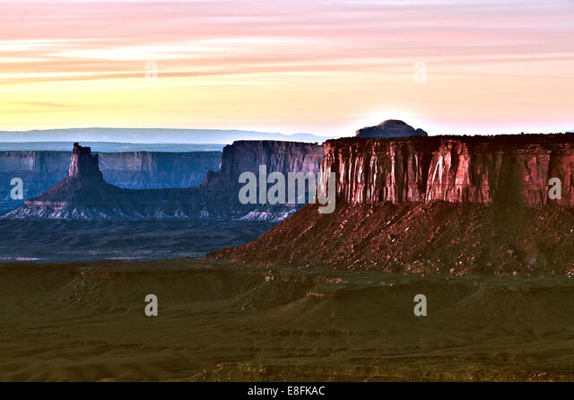 USA, Utah, San Juan, Grand View Point Road, Canyonlands National Park, Blick auf den canyon Stockbild
