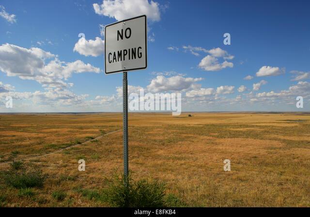 Kein CP-Schild in Wildnis, America, USA Stockbild