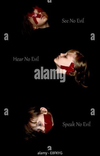 Hören Sie nichts Böses, sprechen Sie nichts Böses, sehen Sie, nichts Böses Stockbild