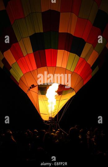 USA, Utah, Eden, Hot Air Balloon ausziehen während Ogden-Tal-Ballon-Festival Stockbild