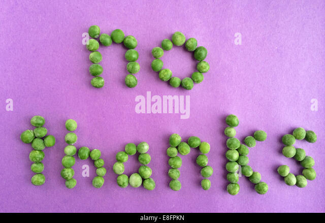 Nein danke-Nachricht geschrieben mit Erbsen Stockbild